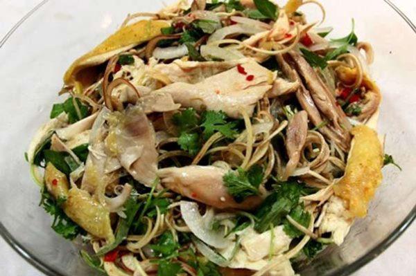 Cách làm món nộm gà hoa chuối đơn giản, nộm gà dưa chuột