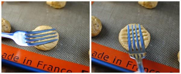 Dùng nĩa tạo hình cho bánh quy bơ đậu phộng - cach lam banh quy