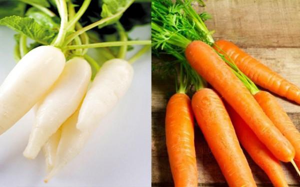Củ cải và cà rốt dùng để làm dưa món - cách làm dưa món
