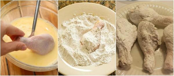 canh ga chien - Lăn thịt gà với bột trước khi rán