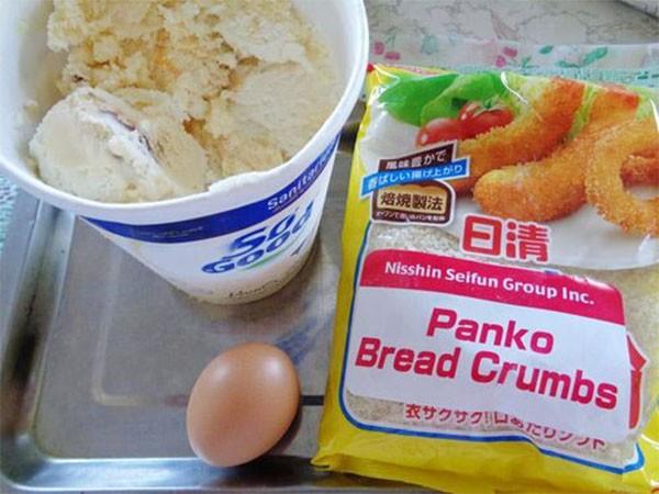 Nguyên liệu làm món kem chiên - cách làm kem chiên
