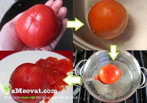 Cách làm sinh tố cà chua - Chế biến cà chua và lột bỏ vỏ