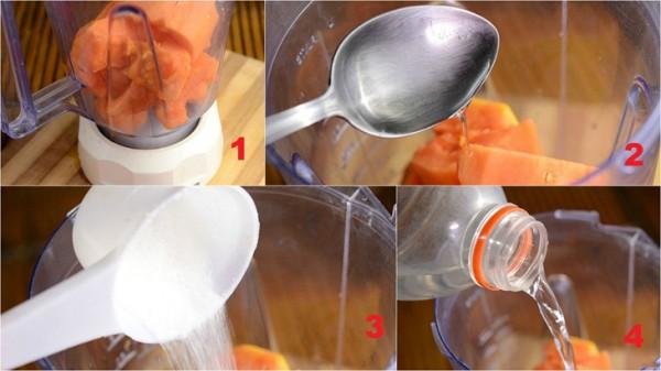 Các bước chính để làm sinh tố đu đủ - cach lam sinh to du du