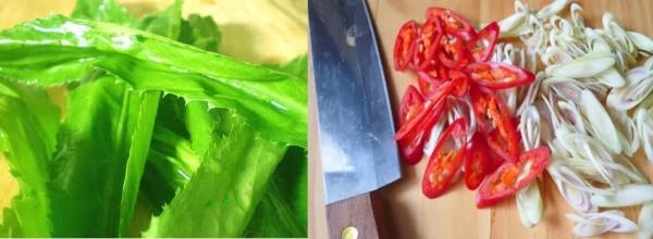 Rửa sạch rau ngò gai + Sả + Ớt rồi thái xéo và tỏi bóc vỏ băm nhuyễn - cach lam lau ga