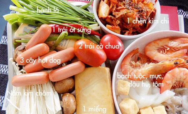 Nguyên liệu nấu lẩu kim chi - cách nấu lẩu kim chi hải sản