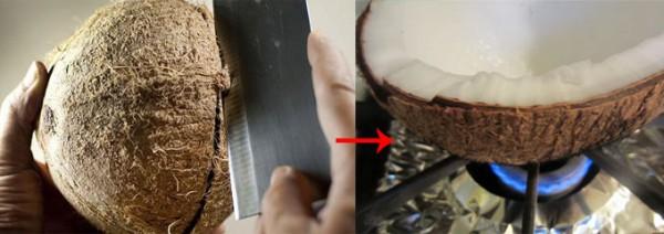 Cach lam nuoc cot dua: bổ đôi rồi hơ quả trên lửa cho dễ tách cùi.