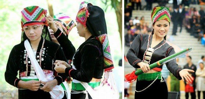 Trang phục dân tộc khơ mú ở Tây Bắc khéo léo khoe hoa văn trên mũ