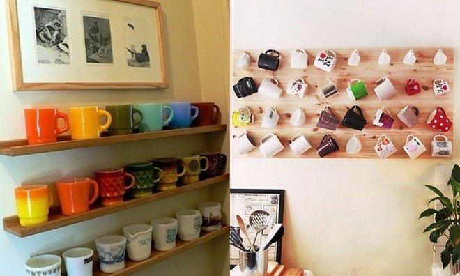Hoặc bạn có thể sưu tập những chiếc cốc đủ màu sắc và treo lên kệ.