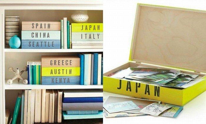 Với những vật lưu niệm nhỏ hơn, bạn có thể cho vào những chiếc hộp có ghi tên nơi bạn đến để tiện việc lưu trữ