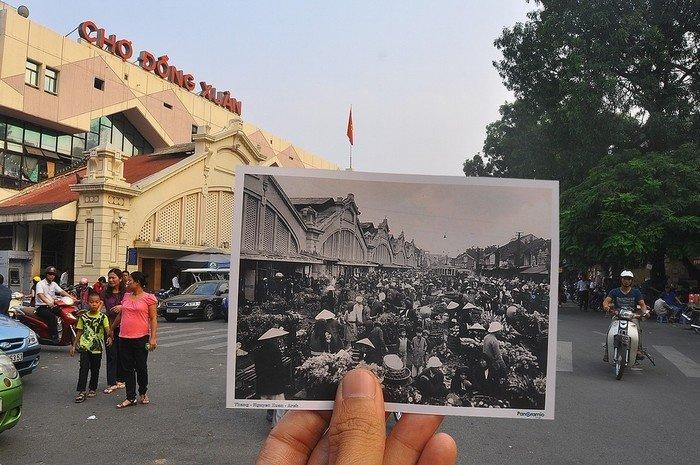 Chợ Đồng Xuân những năm 20-30 và nay với kiến trúc mặt tiền vẫn còn nguyên vẹn