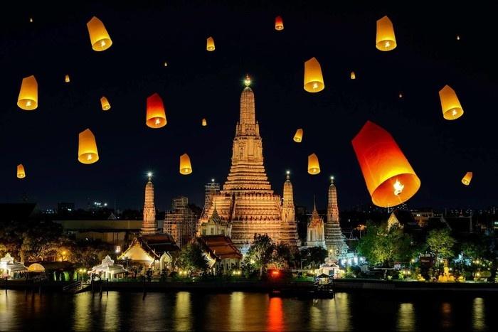 Lung linh Arun Wat (Thái Lan) về đêm