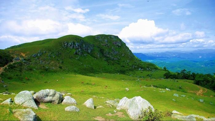Đồng Cao có địa hình nhiều đồng cỏ và phiến đá lớn nhấp nhô như một thạch trận