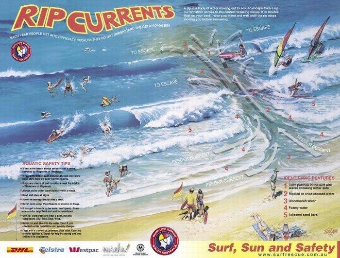 Rip current dồn năng lượng và đánh ngược ra biển