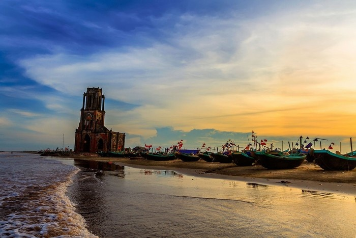 Hoàng hôn buông bên bờ biển Hải Hậu