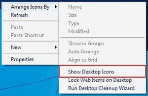 Chọn show desktop icons