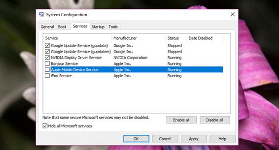 Click chuột vào Hide all Microsoft services