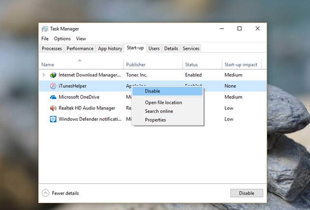 Click Disable cho những ứng dụng không cần thiết