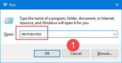 """Nhập """"services.msc"""" vào trình Run"""