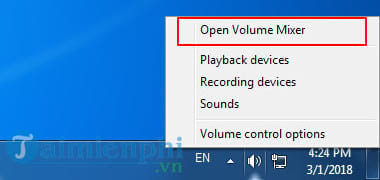 Click Open Volume Mixe