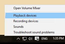 Click chọn Playback devices
