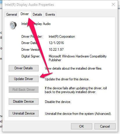 Click vào update driver