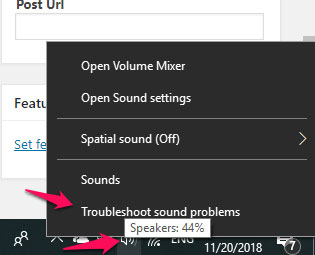 Nhấp vào Troubleshoot sound problems
