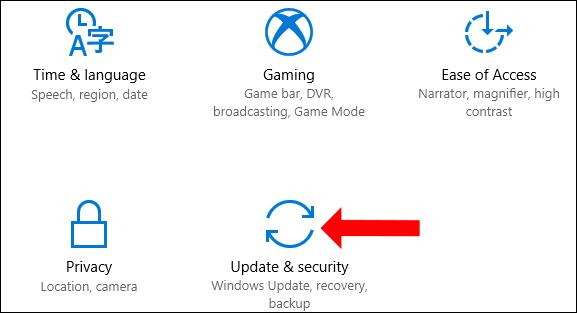 Vào update & security