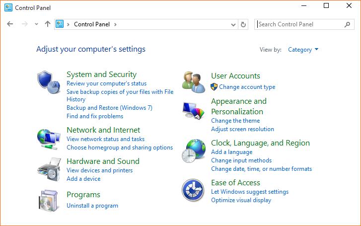 Hướng dẫn các cách truy cập vào Control Panel Win 10