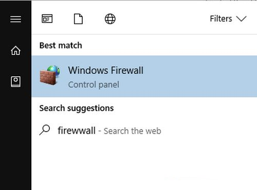 Chọn windows firewall