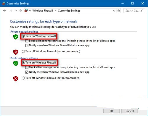 Gia hạn thì bấm Turn on Windows Firewall