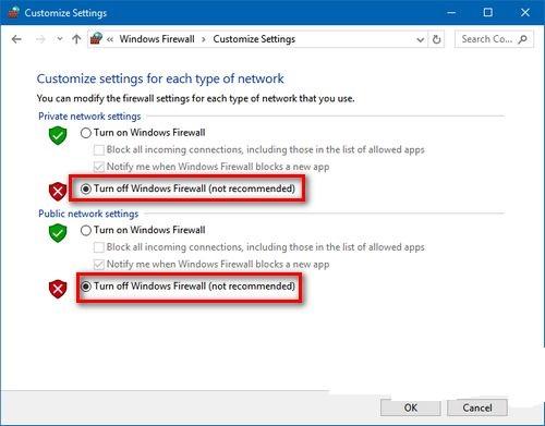 Chọn Turn Windows Firewall on or off
