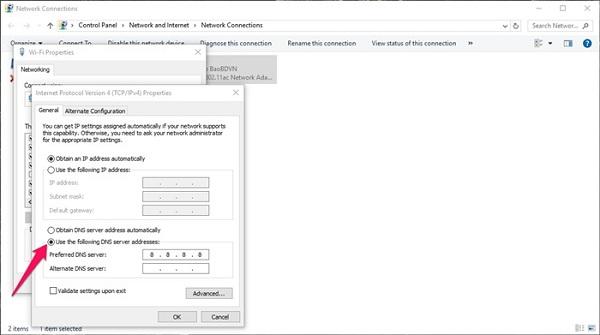 Điền số vào Alternate DNS