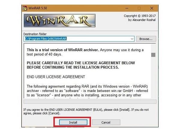 Bắt cài đặt WinRAR