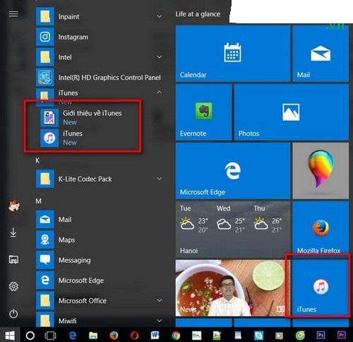 Itunes đã được hiển thị ra desktop hoặc Start Menu
