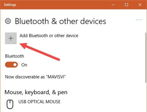 Chọn Add Bluetooth or other device