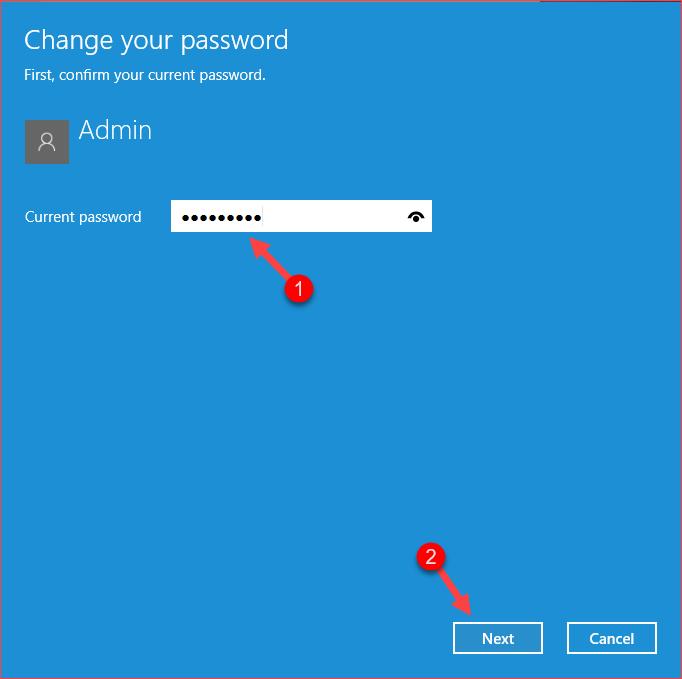 Điền mật khẩu hiện tại để tắt mật khẩu win 10