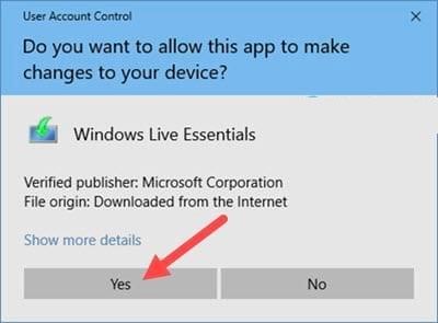 Bạn chọn yes để bắt đầu chạy ứng dụng