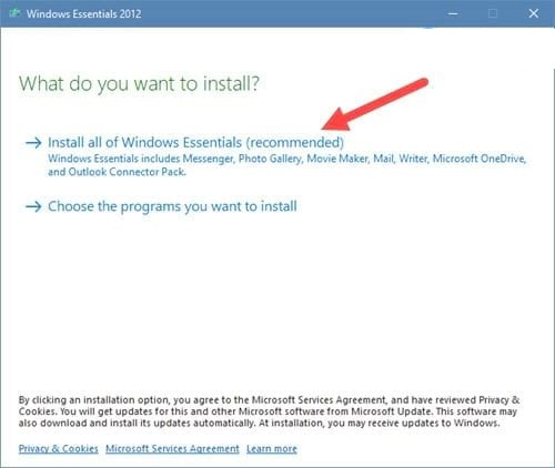 "Bạn chọn ""Install all of Windows Esentials"""