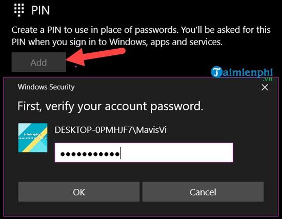 Bấm add thêm mật khẩu mới