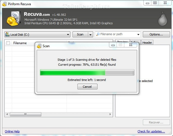 Phần mềm Recuva