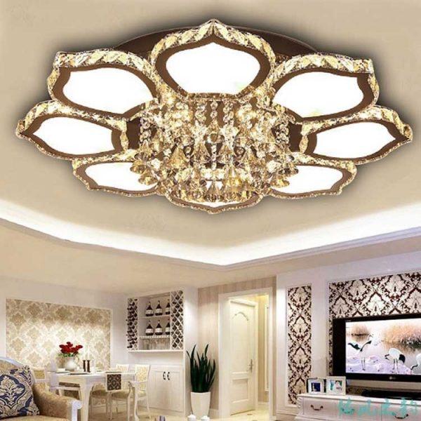 Đèn mâm pha lê hình tròn trang trí phòng khách