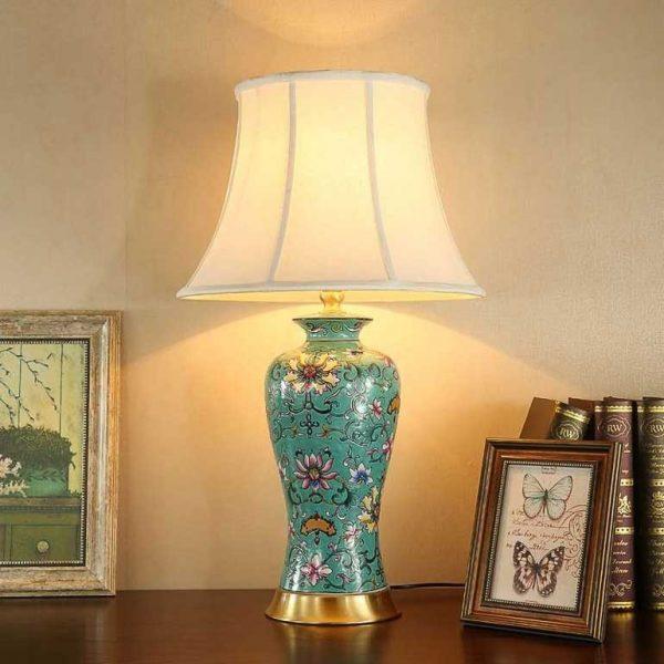 Đèn ngủ để bàn gốm sứ đẹpDecor HT36- Đèn để bàn