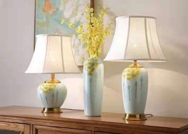 Đèn ngủ để bàn gốm sứ cao cấp trang trí phòng ngủ HT37- Đèn để bàn
