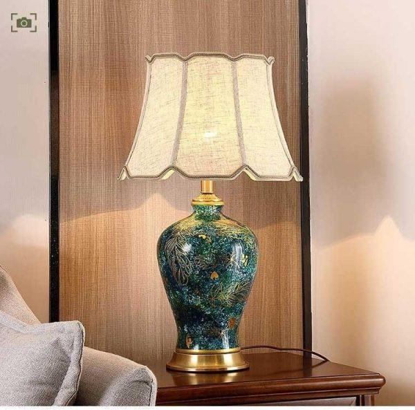 Đèn ngủ để bàn gốm sứ HT-38 trang trí phòng ngủ- Đèn để bàn