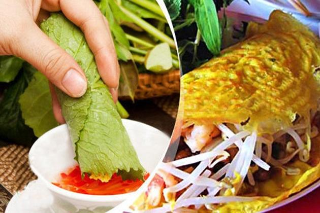 Bánh xèo với nhân thập cẩm đa dạng, ăn kèm với rau sống và nước mắm tỏi ớt rất ngon