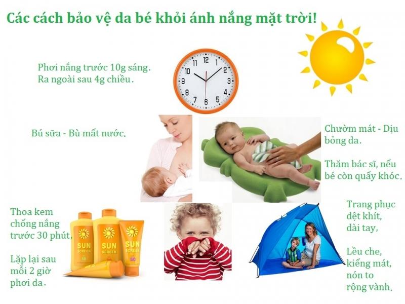 Các cách bảo vệ da bé khỏi ánh nắng mặt trời