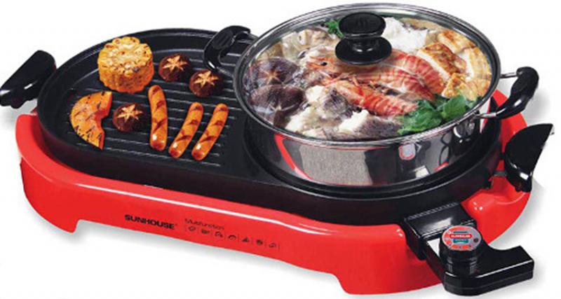 Bếp lẩu nướng điện Sunhouse SHD-4650 được thiết kế theo kiểu đặc biệt 2 trong 1, 1 khay dùng nấu lẩu và 1 khay dùng để nướng.