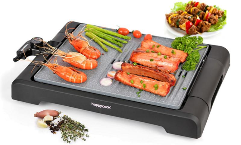 Vỉ nướng điện đa năng Happy Cook HGR-3813M được làm bằng hợp kim nhôm phủ lớp chóng dính vân đá tuyệt đối an toàn, dẫn nhiệt tốt và tỏa nhiệt đều khắp bề mặt vỉ giúp thức ăn chín đều,
