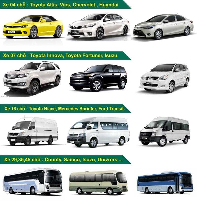 Các dòng xe của công ty du lịch Ngũ Hành Sơn