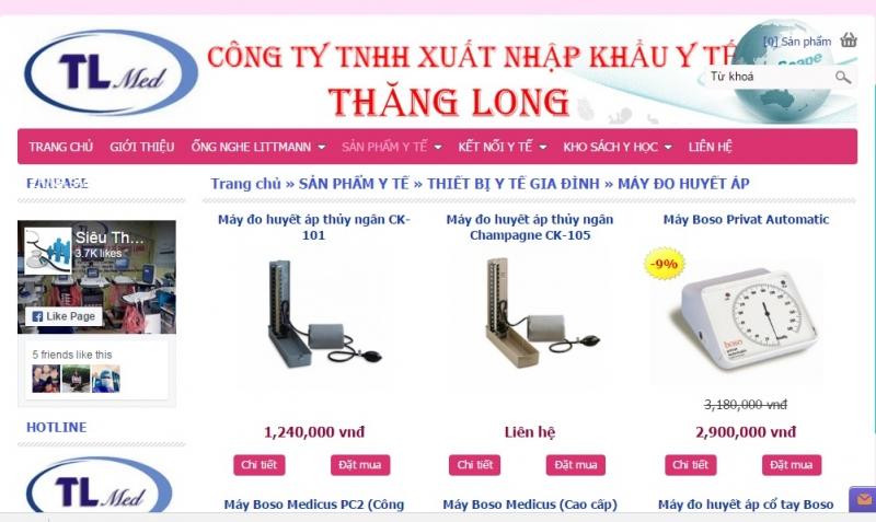 Website của Công Ty TNHH xuất nhập khẩu y tế Thăng Long